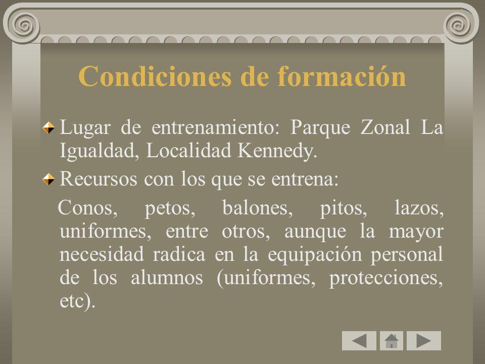 Condiciones de formación Lugar de entrenamiento: Parque Zonal La Igualdad, Localidad Kennedy. Recursos con los que se entrena: Conos, petos, balones,