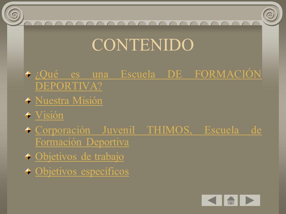 CONTENIDO ¿Qué es una Escuela DE FORMACIÓN DEPORTIVA.