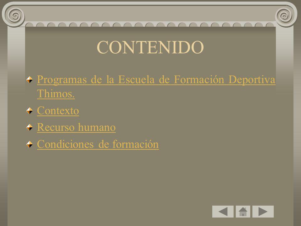 CONTENIDO Programas de la Escuela de Formación Deportiva Thimos. Contexto Recurso humano Condiciones de formación