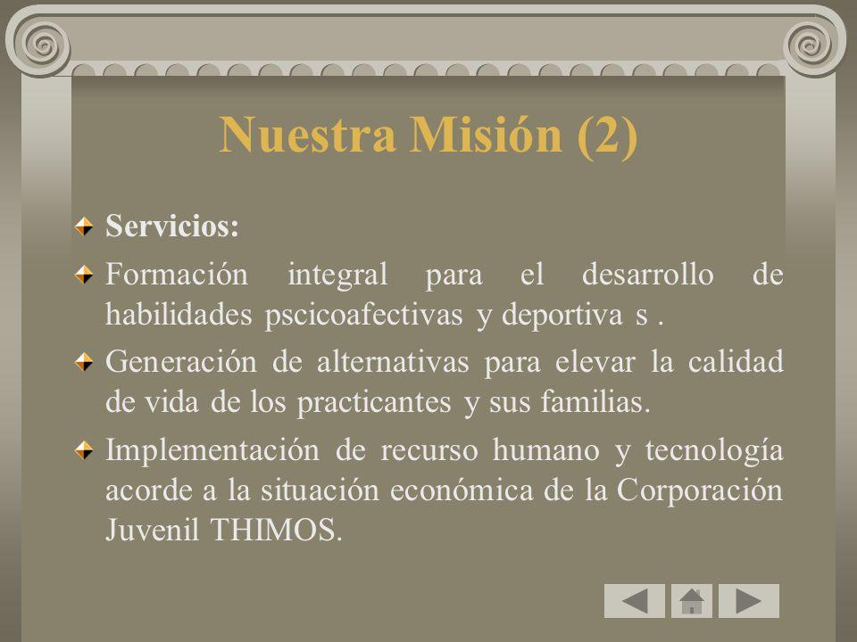Nuestra Misión (2) Servicios: Formación integral para el desarrollo de habilidades pscicoafectivas y deportiva s. Generación de alternativas para elev