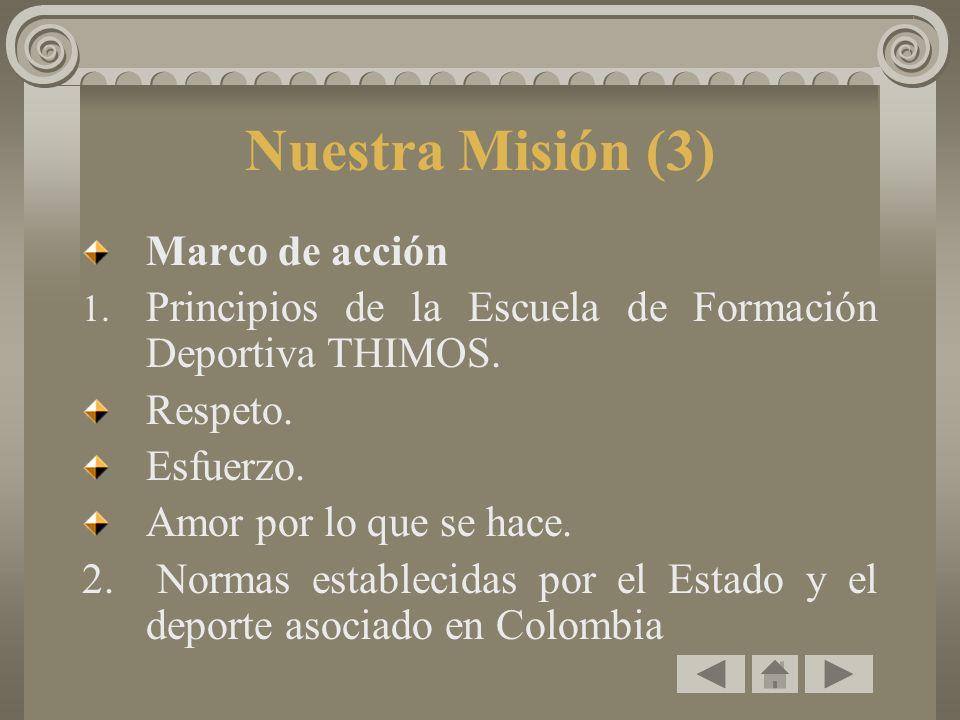 Nuestra Misión (3) Marco de acción 1. Principios de la Escuela de Formación Deportiva THIMOS. Respeto. Esfuerzo. Amor por lo que se hace. 2. Normas es