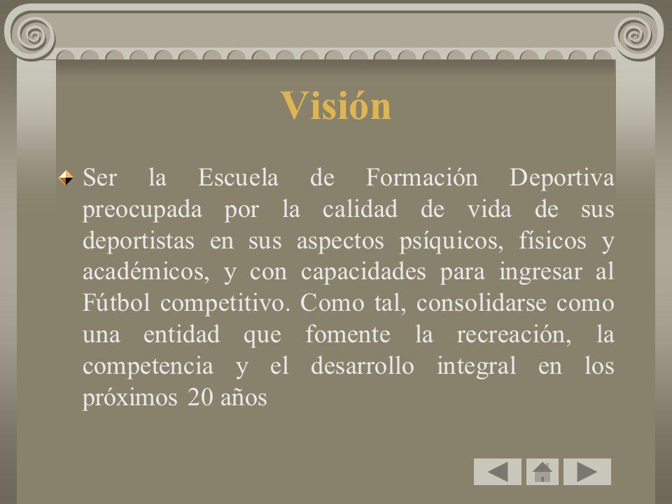 Visión Ser la Escuela de Formación Deportiva preocupada por la calidad de vida de sus deportistas en sus aspectos psíquicos, físicos y académicos, y con capacidades para ingresar al Fútbol competitivo.