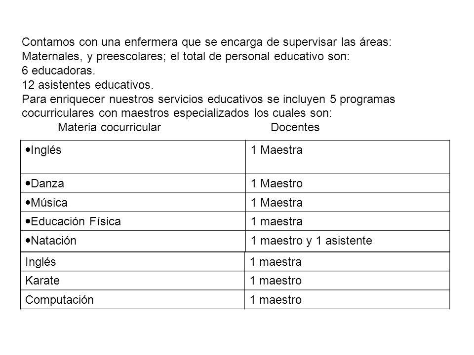 Contamos con una enfermera que se encarga de supervisar las áreas: Maternales, y preescolares; el total de personal educativo son: 6 educadoras. 12 as