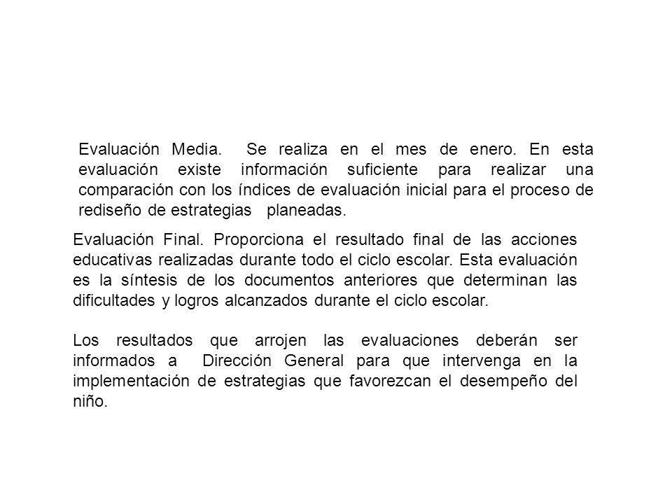 Evaluación Final. Proporciona el resultado final de las acciones educativas realizadas durante todo el ciclo escolar. Esta evaluación es la síntesis d