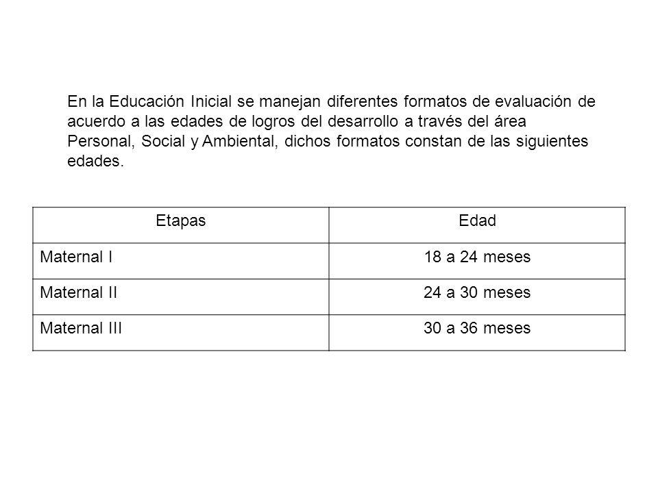 En la Educación Inicial se manejan diferentes formatos de evaluación de acuerdo a las edades de logros del desarrollo a través del área Personal, Soci