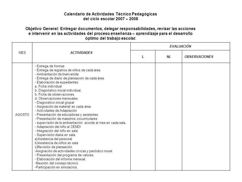 Calendario de Actividades Técnico Pedagógicas del ciclo escolar 2007 – 2008 Objetivo General: Entregar documentos, delegar responsabilidades, revisar