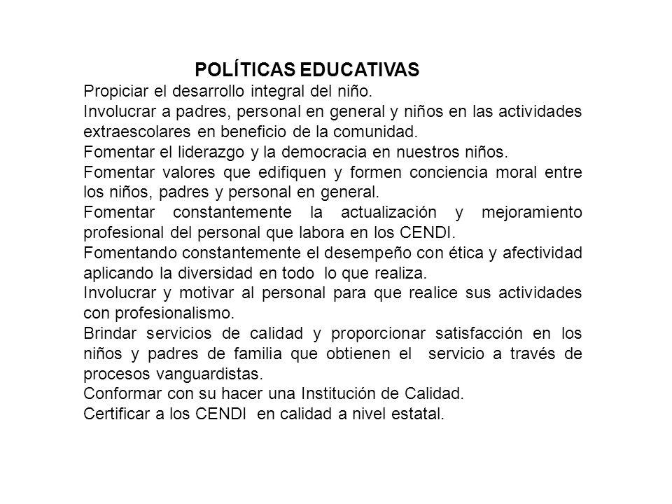 POLÍTICAS EDUCATIVAS Propiciar el desarrollo integral del niño. Involucrar a padres, personal en general y niños en las actividades extraescolares en
