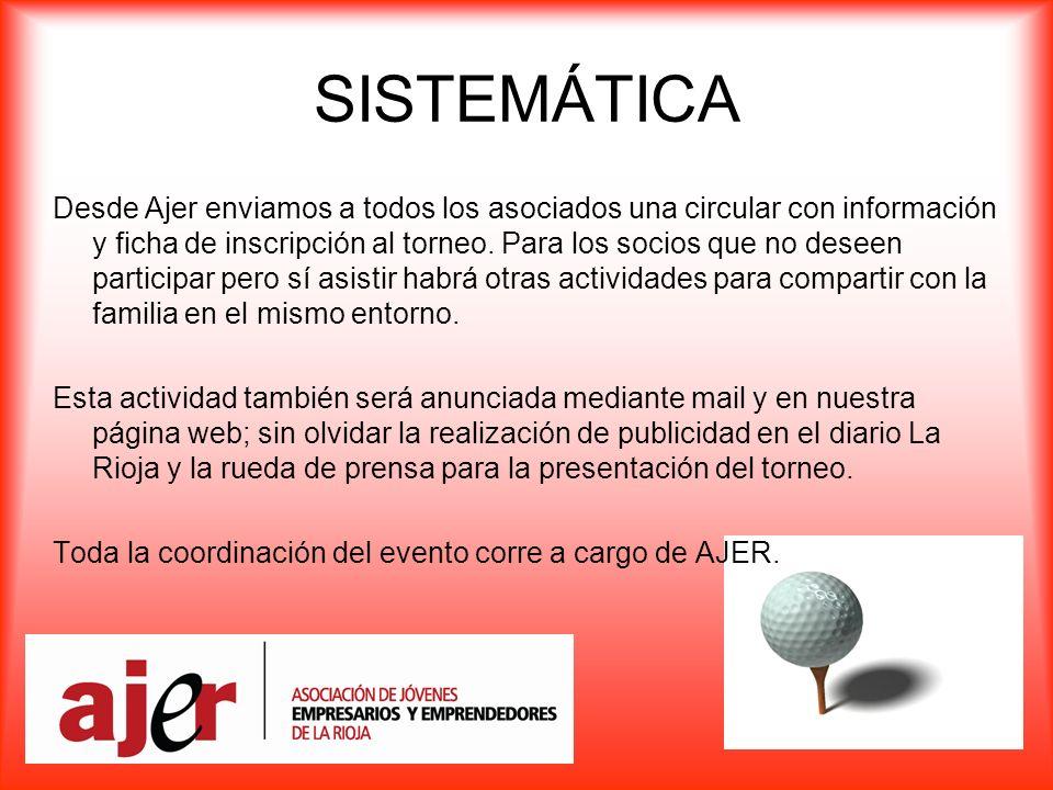 SISTEMÁTICA Desde Ajer enviamos a todos los asociados una circular con información y ficha de inscripción al torneo.