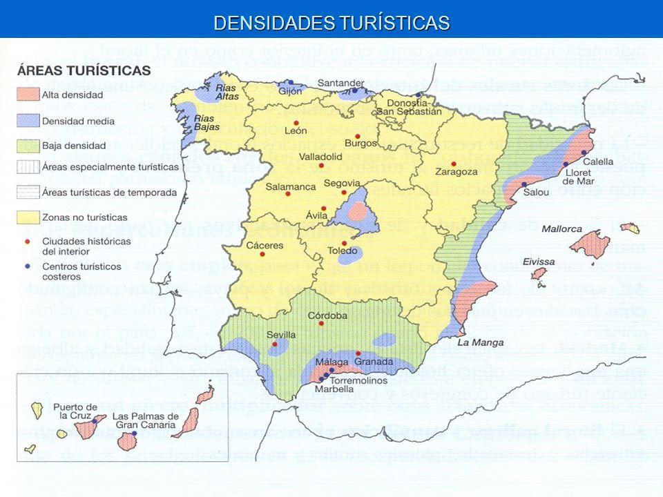 Las densidades más altas se dan en el litoral mediterráneo, Baleares, Canarias y Madrid.
