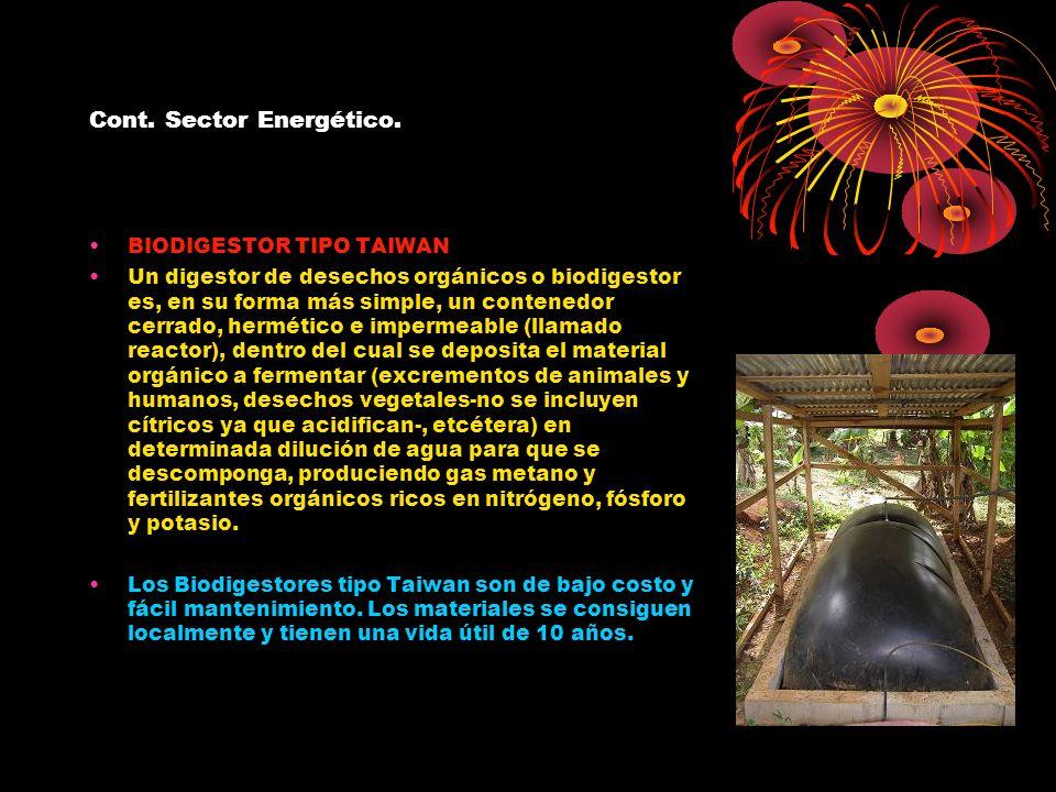 Cont. Sector Energético. BIODIGESTOR TIPO TAIWAN Un digestor de desechos orgánicos o biodigestor es, en su forma más simple, un contenedor cerrado, he