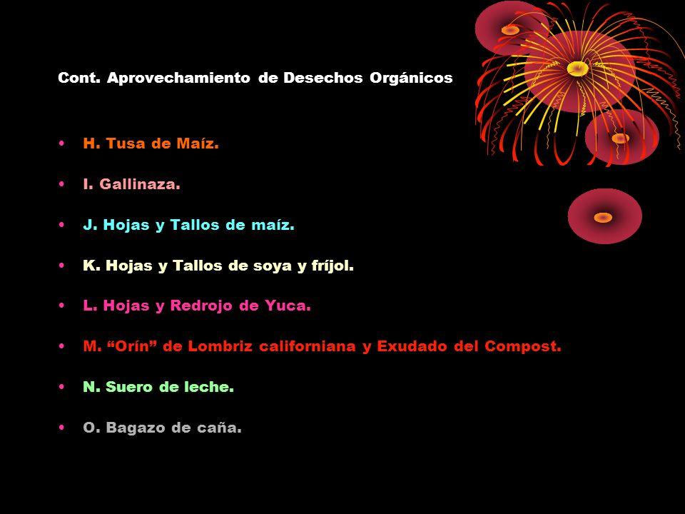Cont. Aprovechamiento de Desechos Orgánicos H. Tusa de Maíz. I. Gallinaza. J. Hojas y Tallos de maíz. K. Hojas y Tallos de soya y fríjol. L. Hojas y R