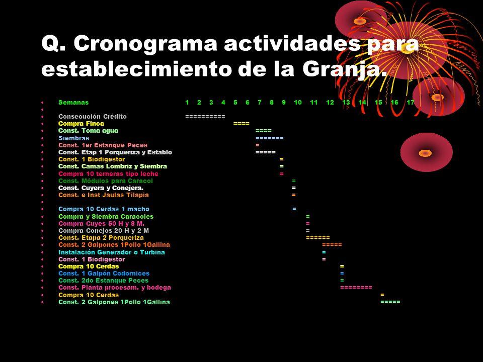 Q. Cronograma actividades para establecimiento de la Granja. Semanas 1 2 3 4 5 6 7 8 9 10 11 12 13 14 15 16 17 Consecución Crédito ========== Compra F