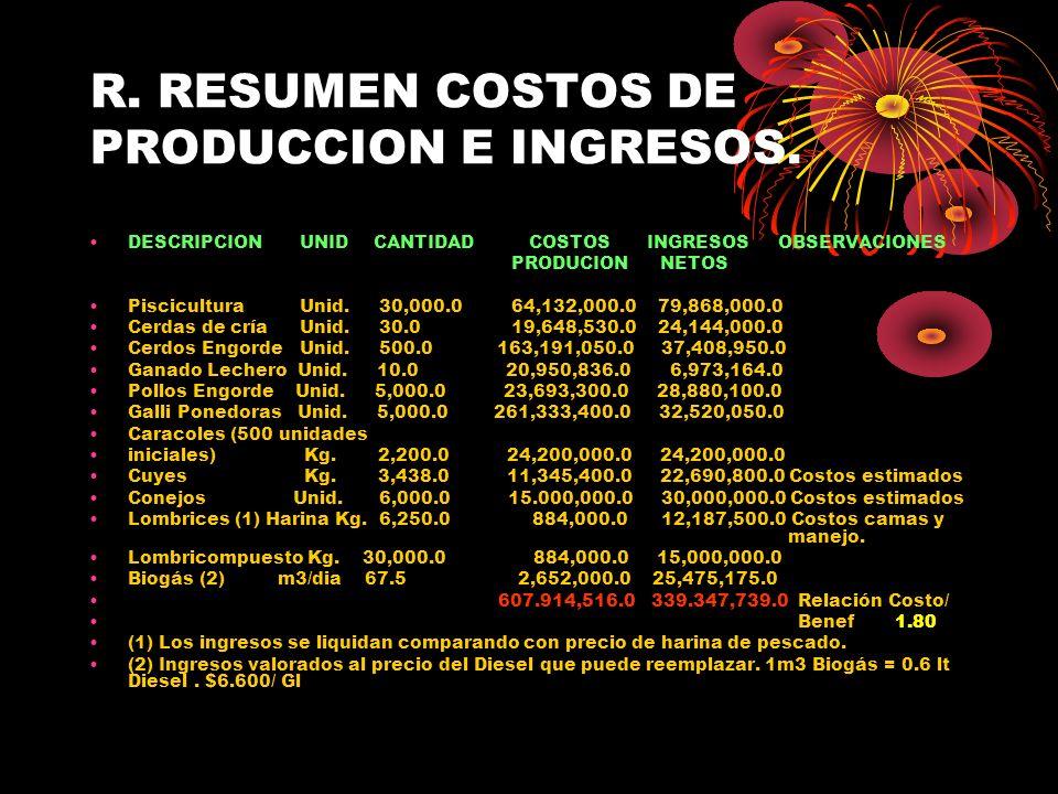 R. RESUMEN COSTOS DE PRODUCCION E INGRESOS. DESCRIPCION UNID CANTIDAD COSTOS INGRESOS OBSERVACIONES PRODUCION NETOS Piscicultura Unid. 30,000.0 64,132