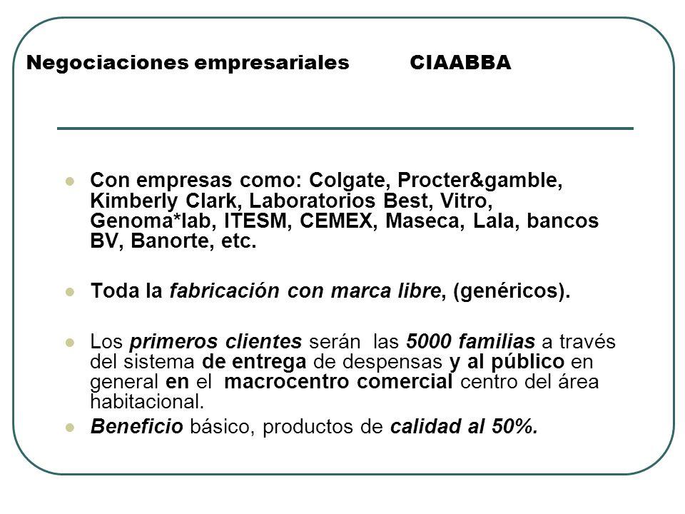 Negociaciones empresariales CIAABBA Con empresas como: Colgate, Procter&gamble, Kimberly Clark, Laboratorios Best, Vitro, Genoma*lab, ITESM, CEMEX, Ma