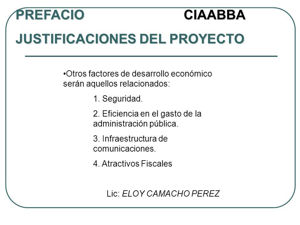 Otros factores de desarrollo económico serán aquellos relacionados: 1. Seguridad. 2. Eficiencia en el gasto de la administración pública. 3. Infraestr
