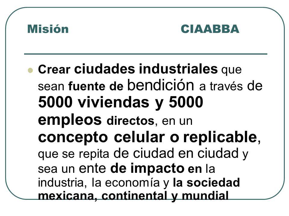 Crear ciudades industriales que sean fuente de bendición a través de 5000 viviendas y 5000 empleos directos, en un concepto celular o replicable, que