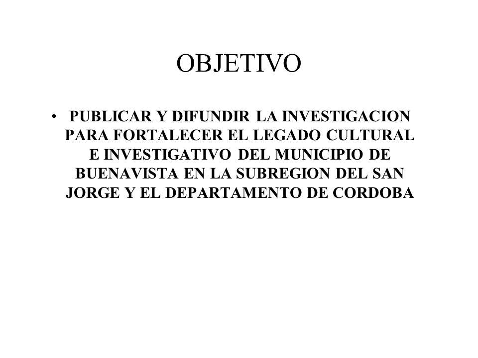 PROYECTO: INVESTIGACION DEL DESARROLLO SOCIOECONOMICO DEL MUNICIPIO DE BUENAVISTA CORDOBA SECTOR URBANO PERIODO 1950-2009