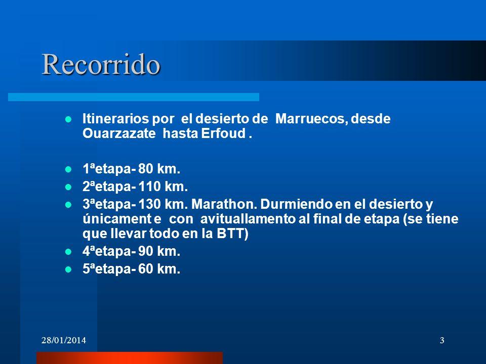 28/01/20143 Recorrido Itinerarios por el desierto de Marruecos, desde Ouarzazate hasta Erfoud. 1ªetapa- 80 km. 2ªetapa- 110 km. 3ªetapa- 130 km. Marat
