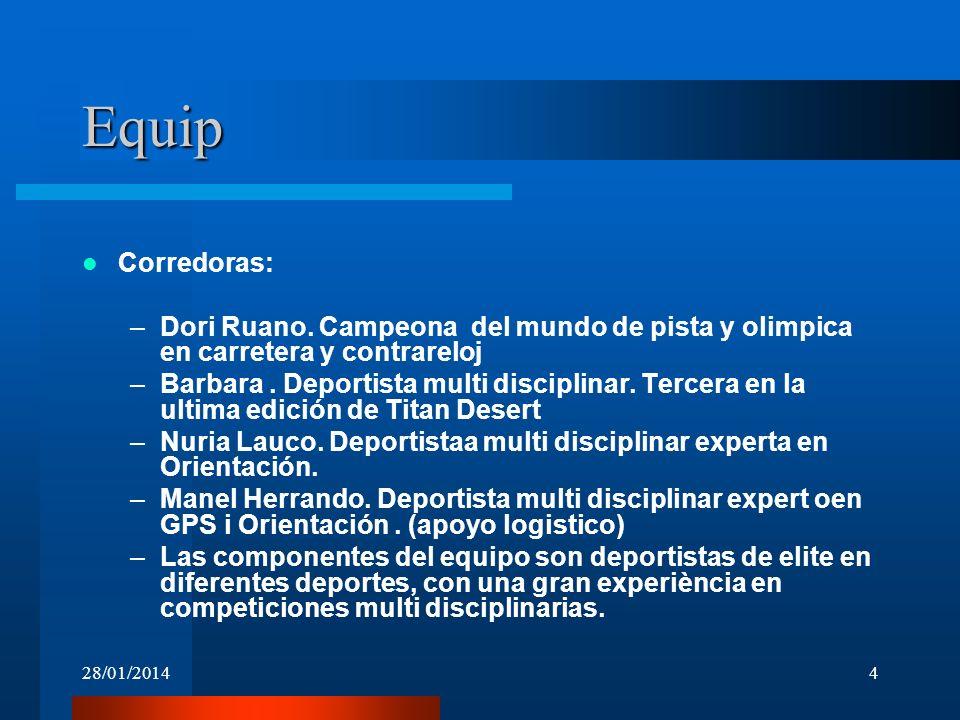 28/01/20144 Equip Corredoras: –Dori Ruano. Campeona del mundo de pista y olimpica en carretera y contrareloj –Barbara. Deportista multi disciplinar. T