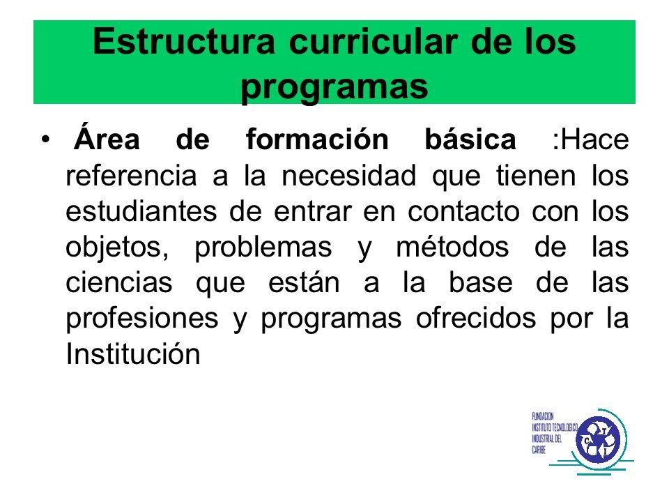 Estructura curricular de los programas Área de formación básica :Hace referencia a la necesidad que tienen los estudiantes de entrar en contacto con l