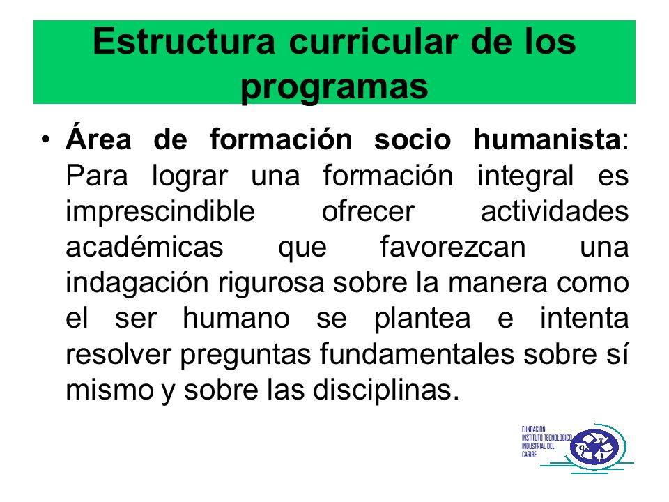 Estructura curricular de los programas Área de formación socio humanista: Para lograr una formación integral es imprescindible ofrecer actividades aca