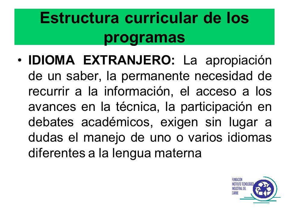 Estructura curricular de los programas IDIOMA EXTRANJERO: La apropiación de un saber, la permanente necesidad de recurrir a la información, el acceso