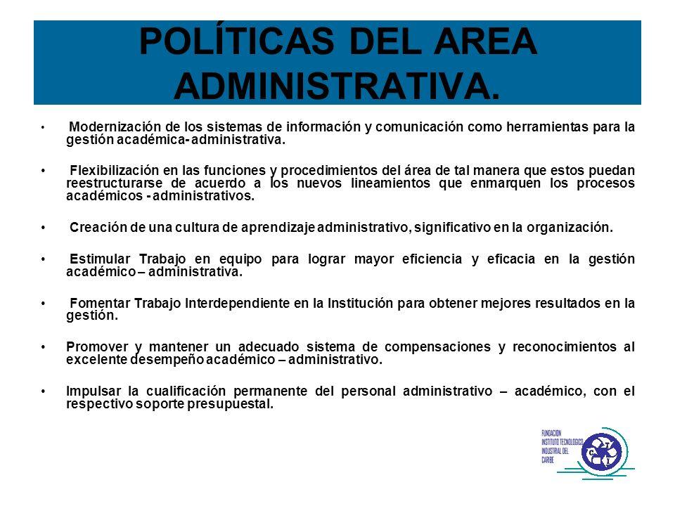 POLÍTICAS DEL AREA ADMINISTRATIVA. Modernización de los sistemas de información y comunicación como herramientas para la gestión académica- administra