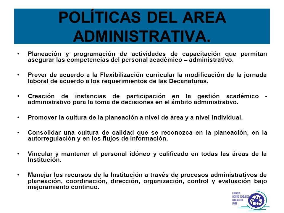 POLÍTICAS DEL AREA ADMINISTRATIVA. Planeación y programación de actividades de capacitación que permitan asegurar las competencias del personal académ