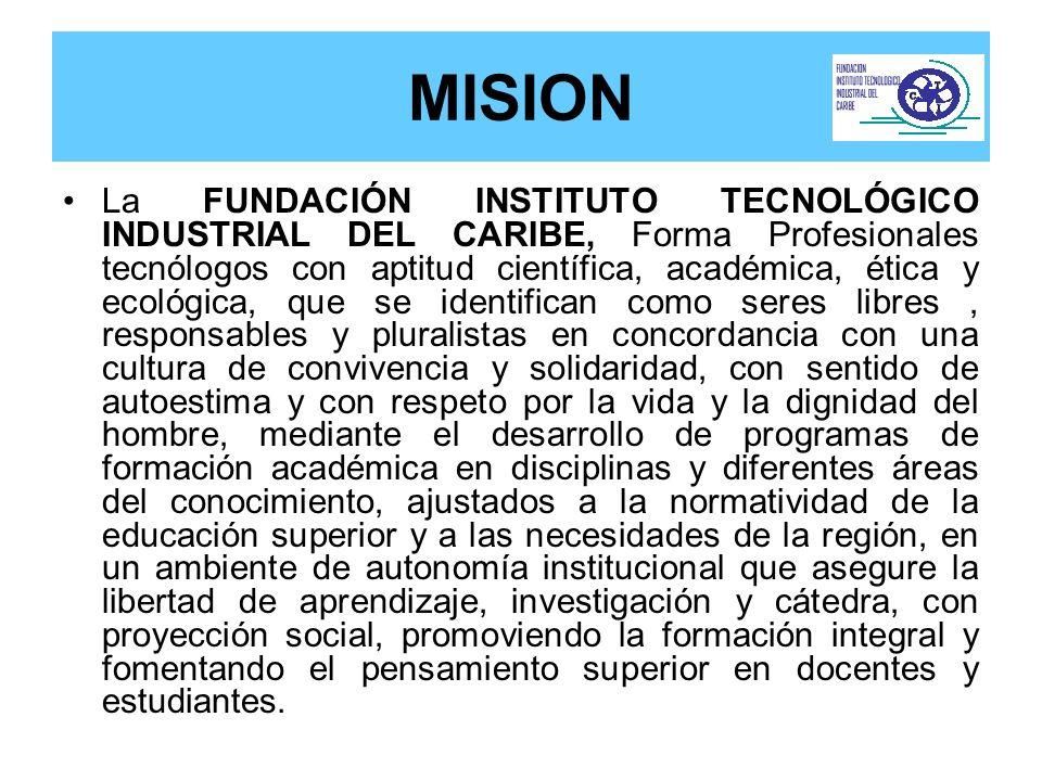 MISION La FUNDACIÓN INSTITUTO TECNOLÓGICO INDUSTRIAL DEL CARIBE, Forma Profesionales tecnólogos con aptitud científica, académica, ética y ecológica,