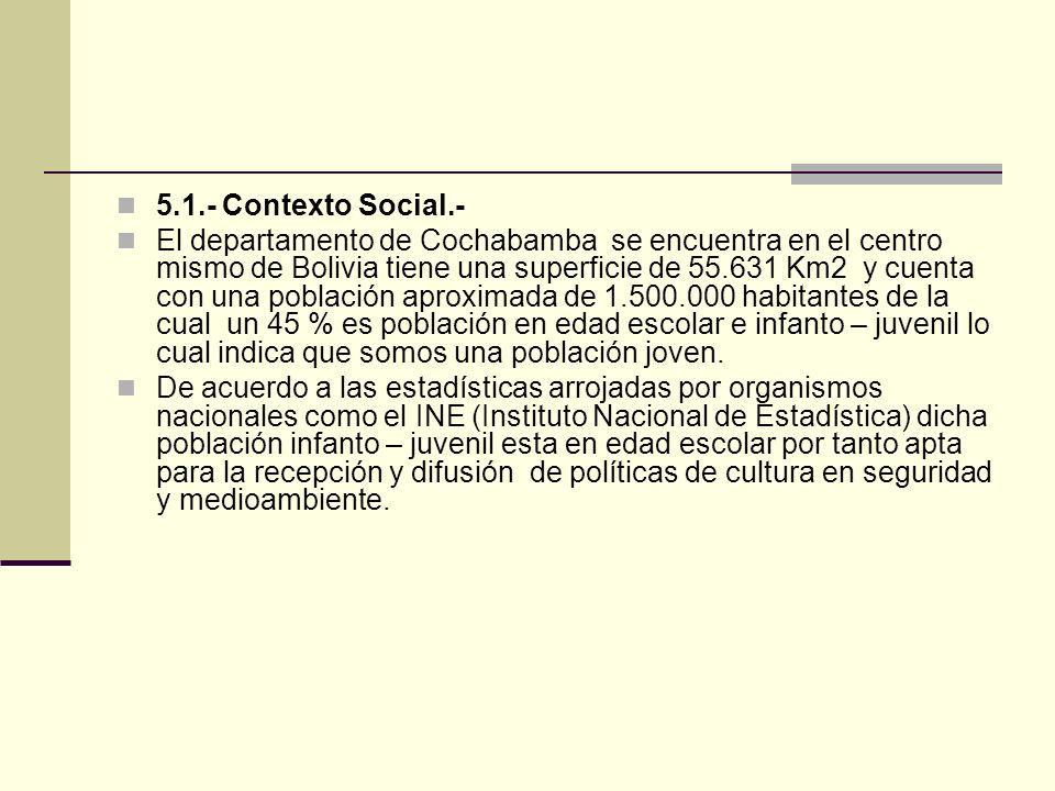 5.1.- Contexto Social.- El departamento de Cochabamba se encuentra en el centro mismo de Bolivia tiene una superficie de 55.631 Km2 y cuenta con una población aproximada de 1.500.000 habitantes de la cual un 45 % es población en edad escolar e infanto – juvenil lo cual indica que somos una población joven.