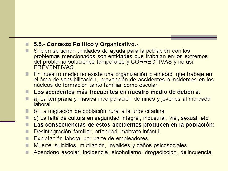 5.5.- Contexto Político y Organizativo.- Si bien se tienen unidades de ayuda para la población con los problemas mencionados son entidades que trabajan en los extremos del problema soluciones temporales y CORRECTIVAS y no así PREVENTIVAS.