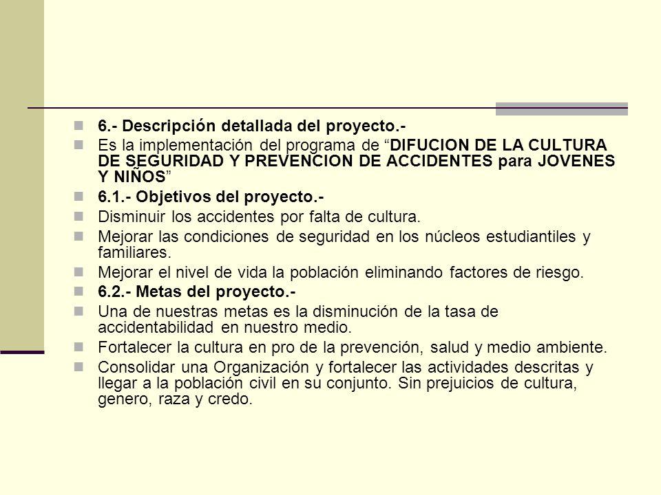 6.- Descripción detallada del proyecto.- Es la implementación del programa de DIFUCION DE LA CULTURA DE SEGURIDAD Y PREVENCION DE ACCIDENTES para JOVENES Y NIÑOS 6.1.- Objetivos del proyecto.- Disminuir los accidentes por falta de cultura.