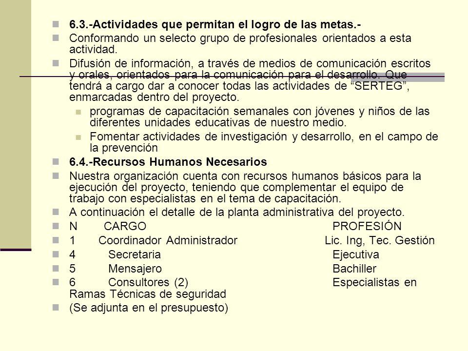 6.3.-Actividades que permitan el logro de las metas.- Conformando un selecto grupo de profesionales orientados a esta actividad.