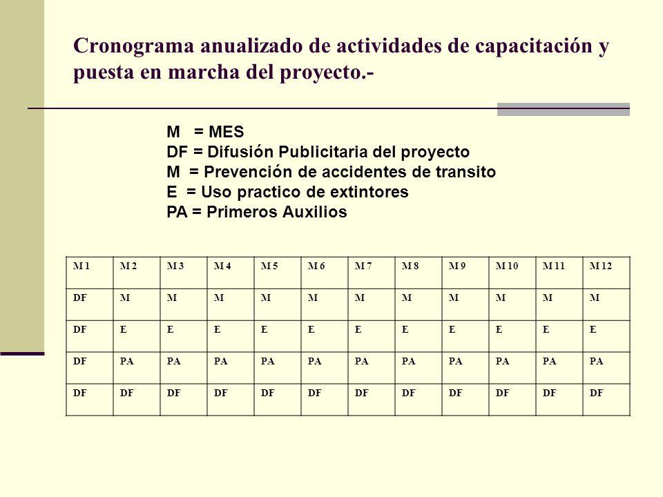 Cronograma anualizado de actividades de capacitación y puesta en marcha del proyecto.- M 1M 2M 3M 4M 5M 6M 7M 8M 9M 10M 11M 12 DFMMMMMMMMMMM EEEEEEEEEEE PA DF M = MES DF = Difusión Publicitaria del proyecto M = Prevención de accidentes de transito E = Uso practico de extintores PA = Primeros Auxilios