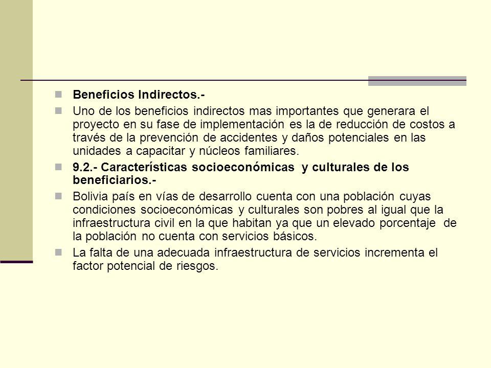 Beneficios Indirectos.- Uno de los beneficios indirectos mas importantes que generara el proyecto en su fase de implementación es la de reducción de costos a través de la prevención de accidentes y daños potenciales en las unidades a capacitar y núcleos familiares.