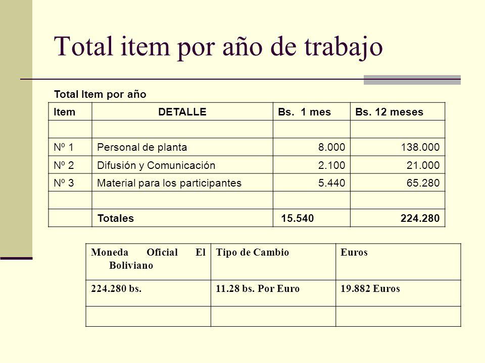Total item por año de trabajo Total Item por año ItemDETALLEBs.