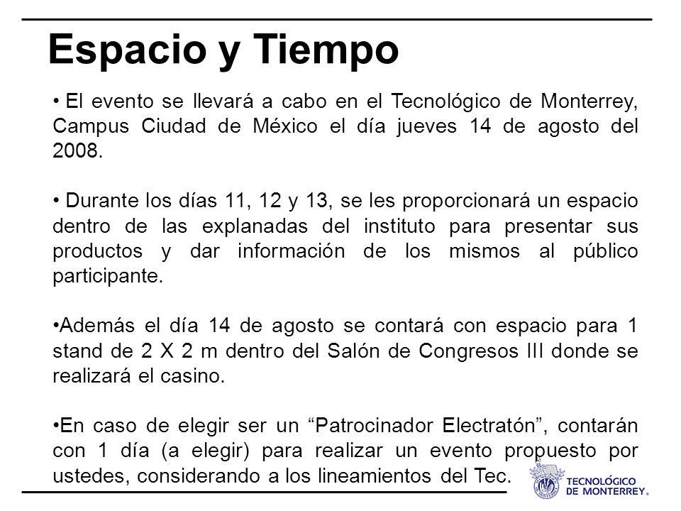 Espacio y Tiempo El evento se llevará a cabo en el Tecnológico de Monterrey, Campus Ciudad de México el día jueves 14 de agosto del 2008.