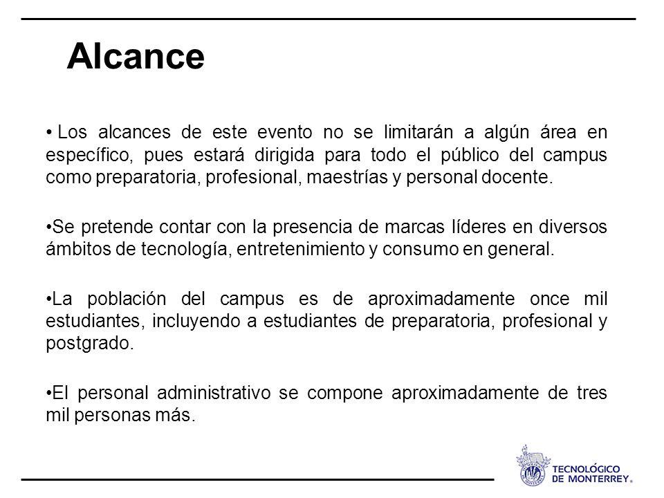 Alcance Los alcances de este evento no se limitarán a algún área en específico, pues estará dirigida para todo el público del campus como preparatoria
