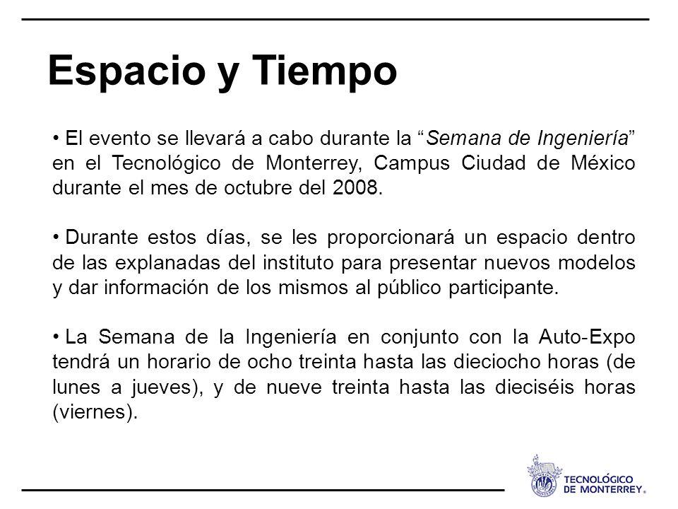 Espacio y Tiempo El evento se llevará a cabo durante la Semana de Ingeniería en el Tecnológico de Monterrey, Campus Ciudad de México durante el mes de octubre del 2008.