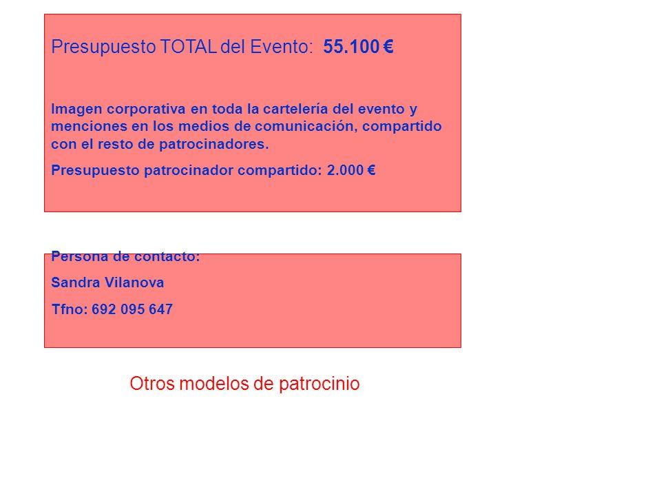 Otros modelos de patrocinio Presupuesto TOTAL del Evento: 55.100 Imagen corporativa en toda la cartelería del evento y menciones en los medios de comu
