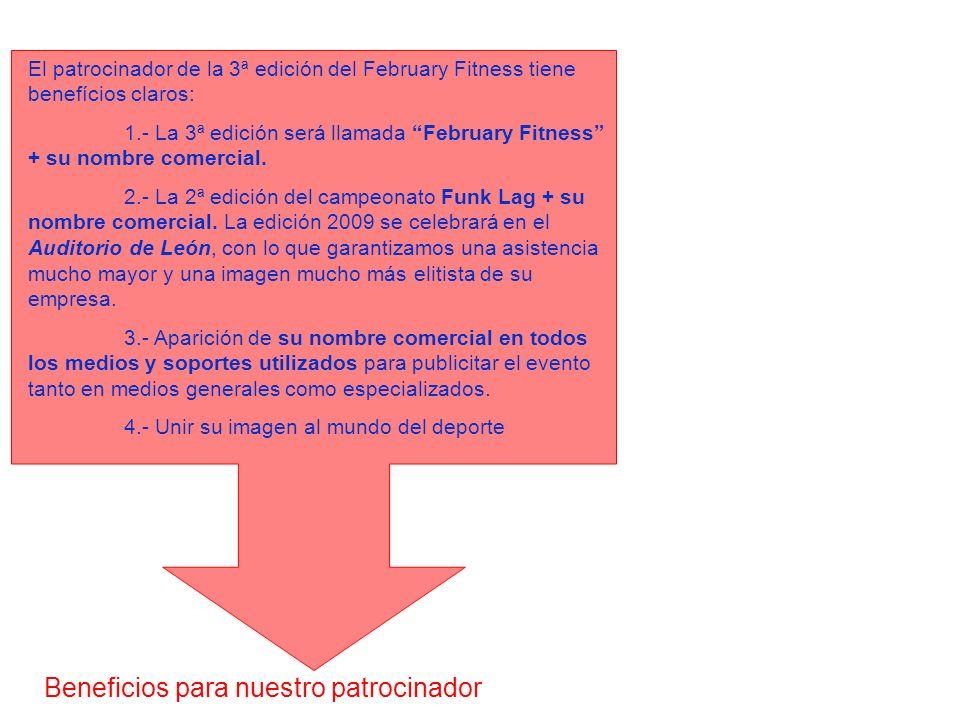 Beneficios para nuestro patrocinador El patrocinador de la 3ª edición del February Fitness tiene benefícios claros: 1.- La 3ª edición será llamada Feb