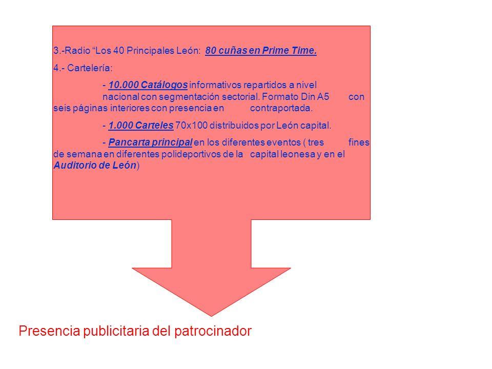 3.-Radio Los 40 Principales León: 80 cuñas en Prime Time. 4.- Cartelería: - 10.000 Catálogos informativos repartidos a nivel nacional con segmentación