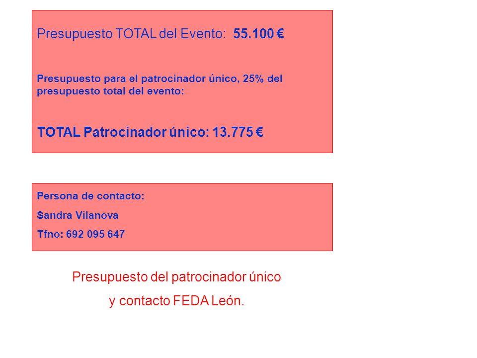 Presupuesto del patrocinador único y contacto FEDA León. Presupuesto TOTAL del Evento: 55.100 Presupuesto para el patrocinador único, 25% del presupue