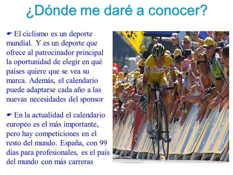 ¿Dónde me daré a conocer? El ciclismo es un deporte mundial. Y es un deporte que ofrece al patrocinador principal la oportunidad de elegir en qué país