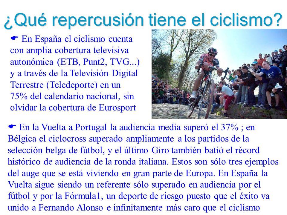 ¿Qué repercusión tiene el ciclismo? En España el ciclismo cuenta con amplia cobertura televisiva autonómica (ETB, Punt2, TVG...) y a través de la Tele