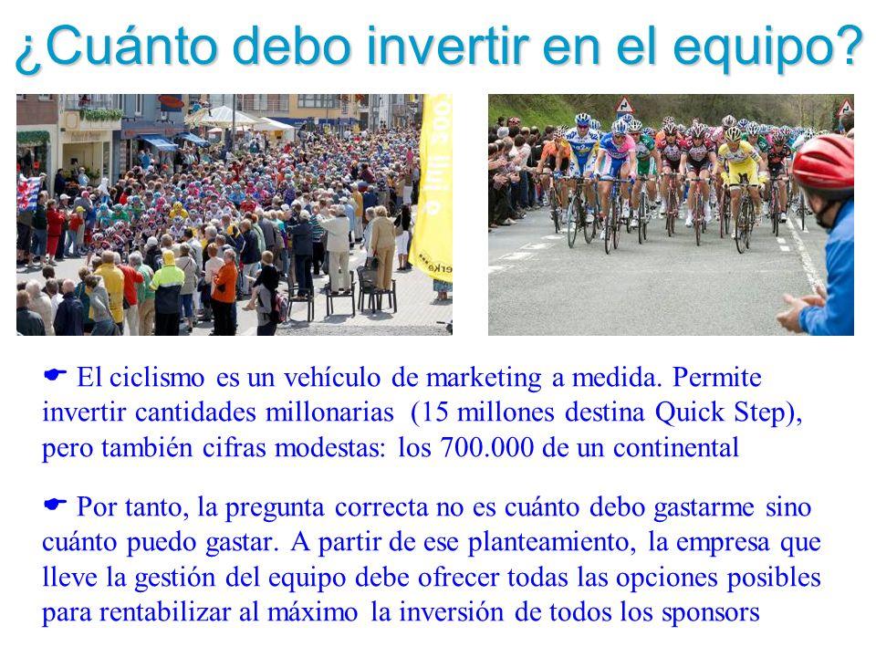 ¿Cuánto debo invertir en el equipo? El ciclismo es un vehículo de marketing a medida. Permite invertir cantidades millonarias (15 millones destina Qui