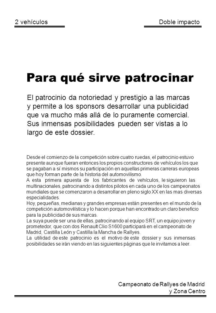 2 vehículos Doble impacto Campeonato de Rallyes de Madrid y Zona Centro Para qué sirve patrocinar El patrocinio da notoriedad y prestigio a las marcas