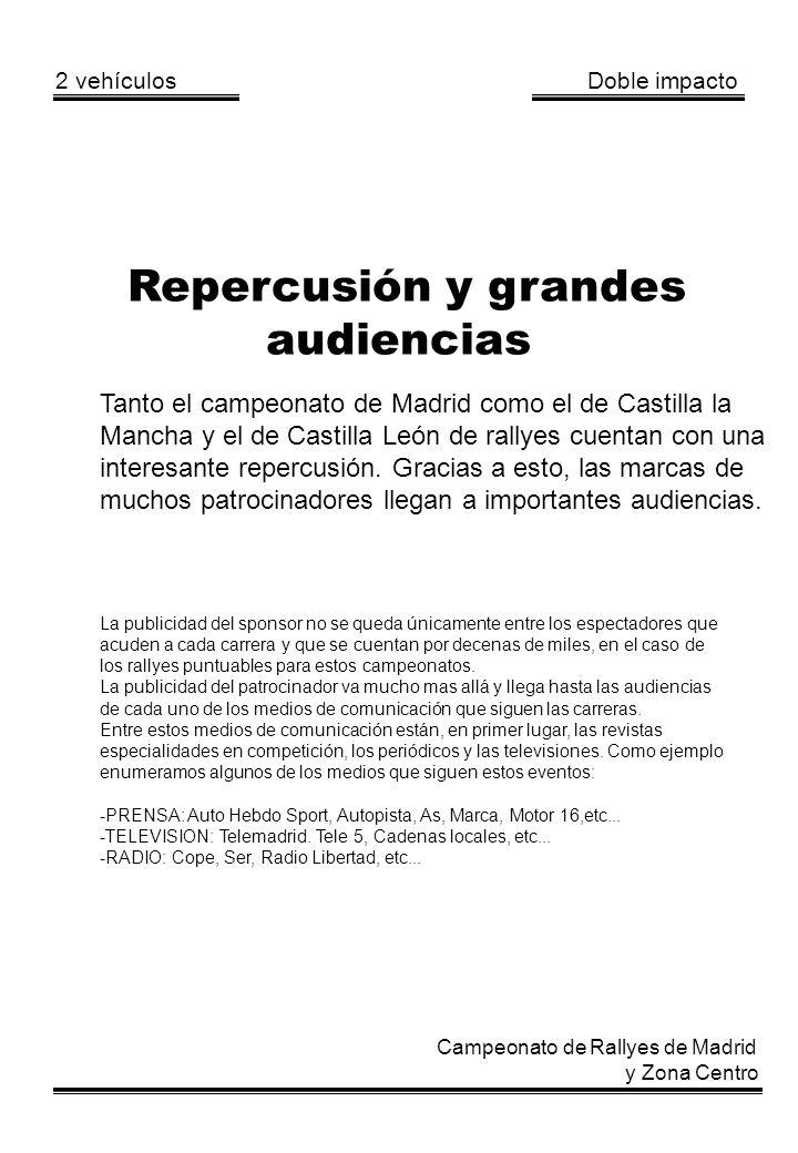 2 vehículos Doble impacto Campeonato de Rallyes de Madrid y Zona Centro Repercusión y grandes audiencias Tanto el campeonato de Madrid como el de Cast