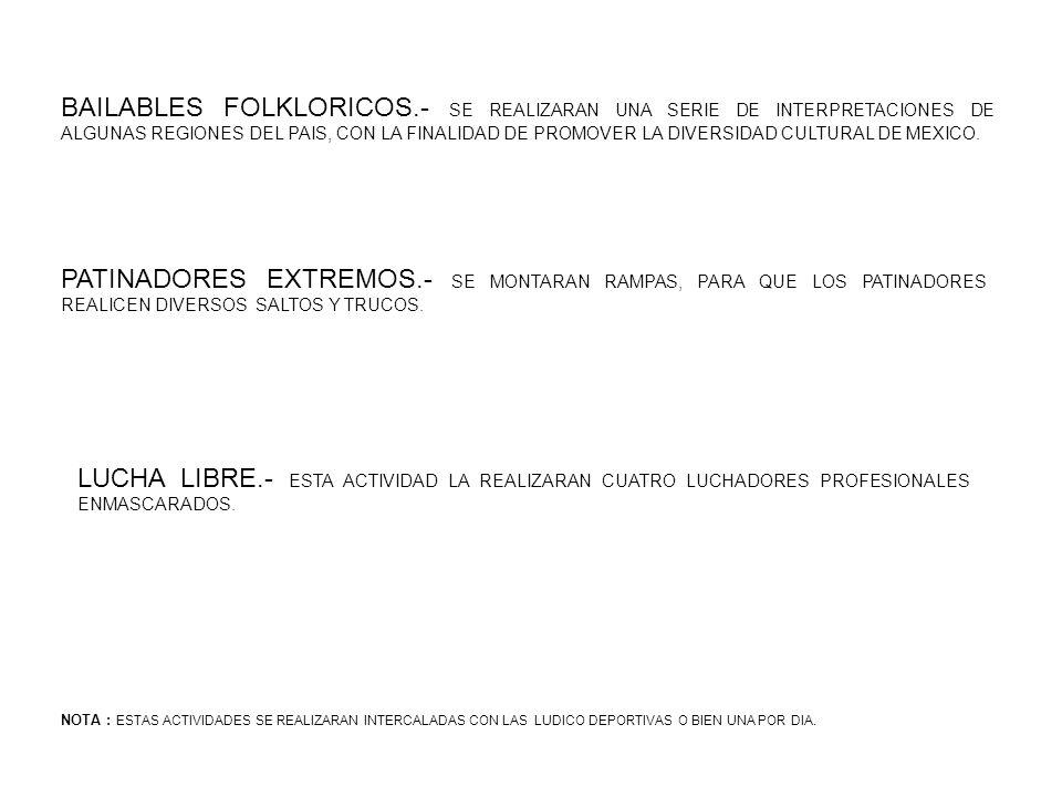 NECESIDADES PARA LA PROMOCION Y DIFUSION PARA LA REALIZACION DE LAS FERIAS DEPORTIVAS ES NECESARIO : GRAFICOS; MANTAS, CARTULINAS Y/O VOLANTES PERIFONEO; DEBERA REALIZARCE DIAS ANTES DEL EVENTO DIRECTA; CON LOS ADMINISTRADORES DE CADA CENTRO DEPORTIVO SE ACORDARA LA PARTICIPACION DE LOS DIFERENTES CLUBES Y/O EQUIPOS INFANTILES-JUVENILES, QUIENES DEBERAN ASISTIR CON SUS PADRES.