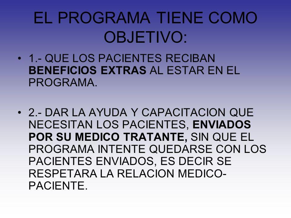 EL PROGRAMA TIENE COMO OBJETIVO: 1.- QUE LOS PACIENTES RECIBAN BENEFICIOS EXTRAS AL ESTAR EN EL PROGRAMA.
